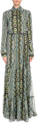 Altuzarra Long-Sleeve Printed Silk Creponne Maxi Dress