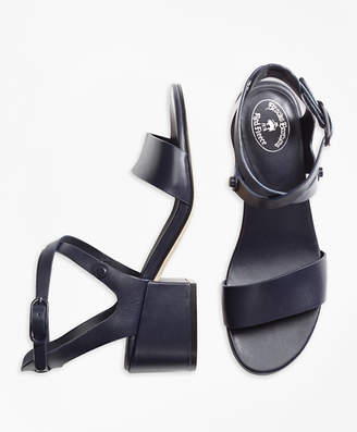Brooks Brothers Stacked Heel Leather Sandals