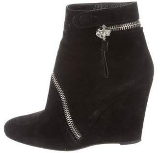 Alexander McQueen Suede Wedge Ankle Boots