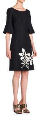 Fendi Flared-Sleeve Embroidered Dress