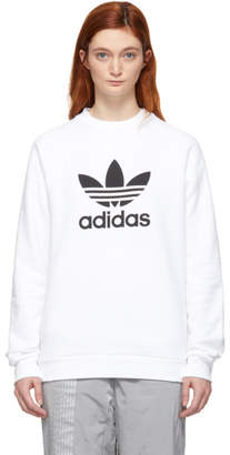 adidas White Trefoil Warm-Up Sweatshirt