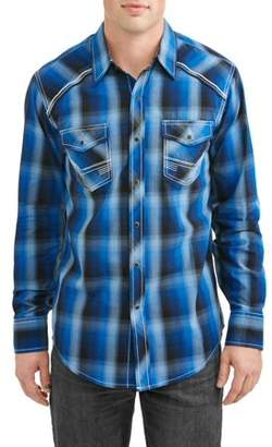 Plains Men's Long Sleeve Plaids With Accent Stitch Piping At Yokes Shirt