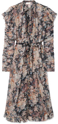 Zimmermann Tempest Frolic Ruffled Floral-print Silk-georgette Midi Dress - Gray
