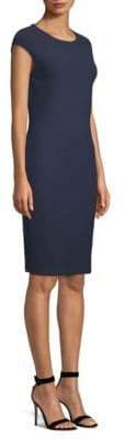 St. John Cap-Sleeve Boucle Knit Sheath Dress