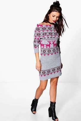 boohoo Reindeer Fairisle Christmas Jumper Dress