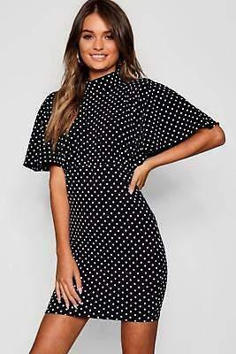 boohoo NEW Womens High Neck Angel Sleeve Polka Dot Mini Dress in Polyester