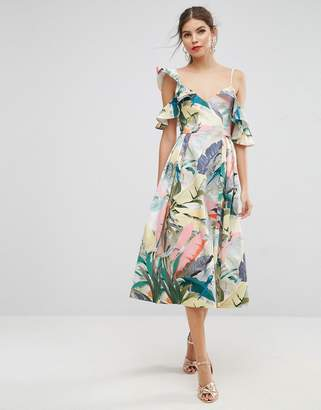 ASOS Tropical Ruffle Dip Back Prom Midi Dress $135 thestylecure.com