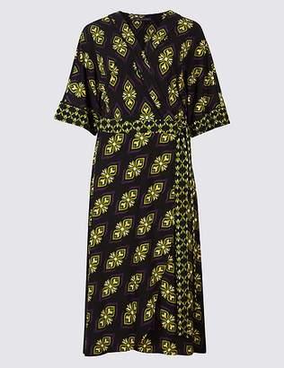 Marks and Spencer Geometric Print Half Sleeve Wrap Midi Dress