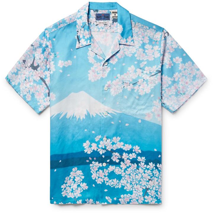 Blue Blue Japan Camp-Collar Printed Woven Shirt