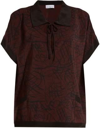 Raey Squiggle-print silk-crepe pyjama top