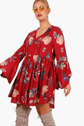 boohoo Plus Ladder Trim Ruffle Detail Sleeve Dress