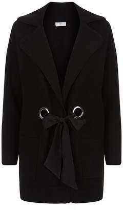 Claudie Pierlot Tie Front Stretch Knit Cardigan
