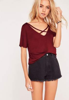 Missguided V Neck Cross Strap Front T Shirt Burgundy