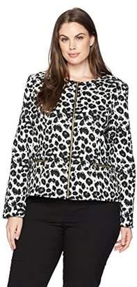 Calvin Klein Women's Plus Size Zipper Front Animal Print Jacket