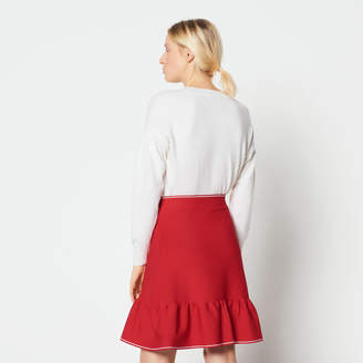 Sandro Frilled knitted skirt with zip