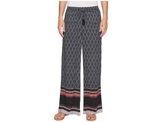 Tribal Printed 30 Wide Leg Drawstring Pants in Twilight Women's Jeans