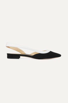 Alexandre Birman Wavee Leather-trimmed Suede Slingback Point-toe Flats - Black