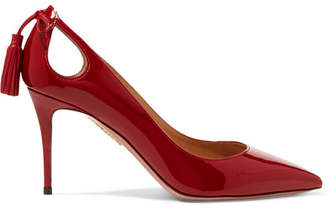Aquazzura Forever Marilyn 85 Cutout Tasseled Patent-leather Pumps - Claret