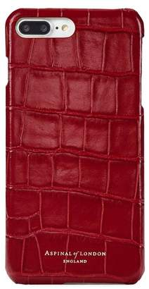 Aspinal of London Iphone 7 Plus Leather Cover In Deep Shine Red Croc