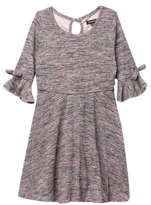 Zunie 3\u002F4 Sleeve Slub Knit Dress with Bows (Little Girls)
