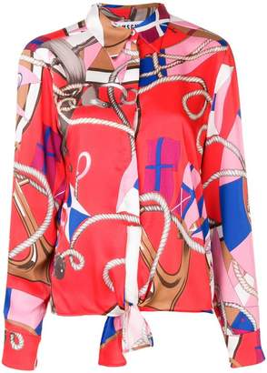 MSGM knot detail nautical print shirt