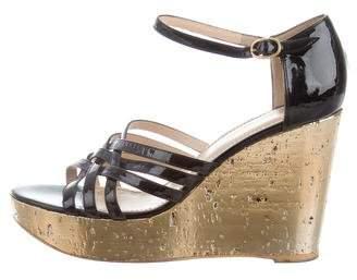 Saint Laurent Crossover Wedge Sandals
