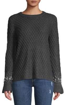 Karl Lagerfeld Paris Faux Pearl-Embellished Bell-Sleeve Sweater