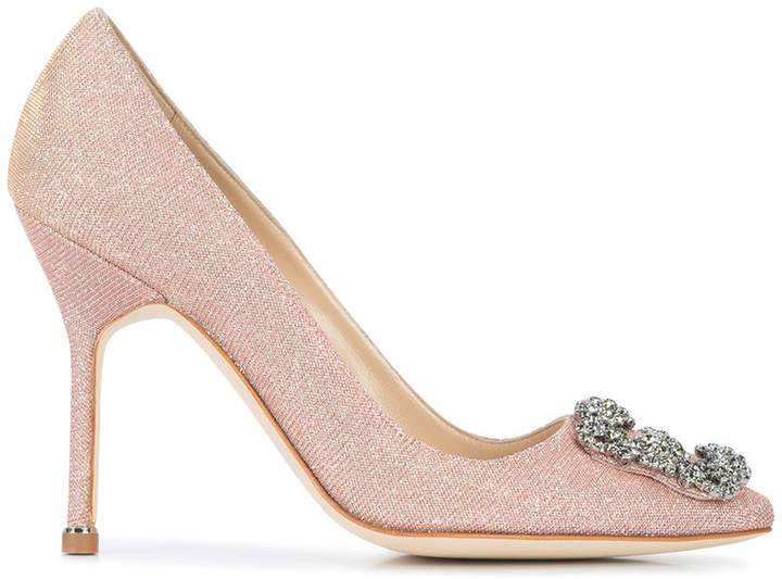 Manolo Blahnik Hangisi glittered pumps