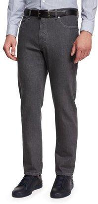 Ermenegildo Zegna Five-Pocket Regular-Fit Stretch-Denim Jeans, Gray $445 thestylecure.com