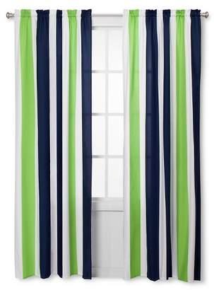 JoJo Designs Sweet Navy Blue & Lime Green Stripe Window Panels - Navy