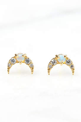 Tai Pave Opal Crescent Moon Earrings