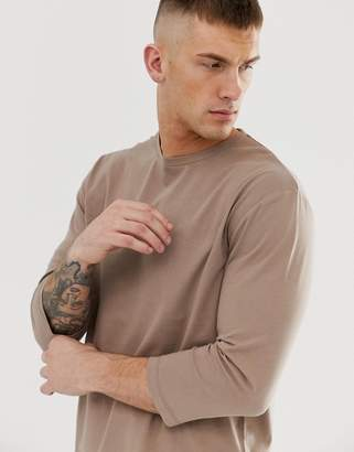 BEIGE Asos Design ASOS DESIGN relaxed 3/4 sleeve t-shirt with crew neck in