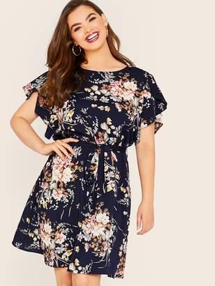 Shein Plus Floral Print Petal Sleeve Belted Dress