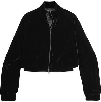 TOM FORD - Cropped Velvet Bomber Jacket - Black