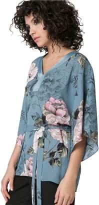 Le Château Women's Floral Poncho Blouse,XXL