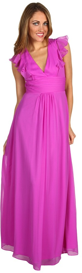Jessica Simpson - Deep V-Neck Ruffle Gown (Berry) - Apparel