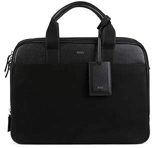HUGO BOSS Double document case with trims in Italian leather