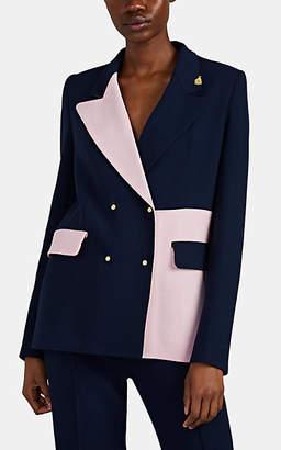 BROGGER Women's Gurli Colorblocked Wool Double-Breasted Blazer - Navy