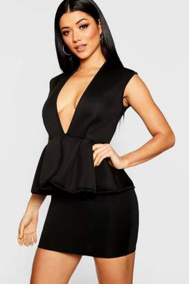 boohoo Bonded Scuba Peplum Mini Dress