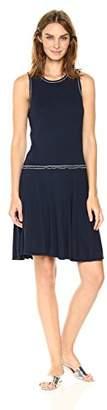Three Dots Women's Contrast Stitch Heritage Rib Fit and Flare Dress