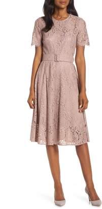 Eliza J Belted Fit & Flare Lace Dress