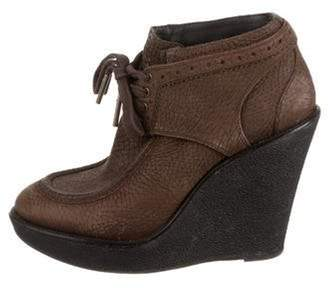 Burberry Leather Wedge Boots Brown Leather Wedge Boots