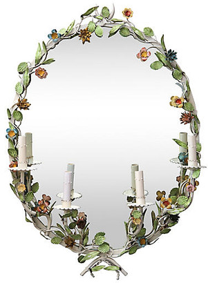 One Kings Lane Vintage Hand-Painted Floral Sconce Mirror - Fleur de Lex Antiques