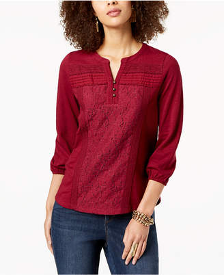 Style&Co. Style & Co Petite Lace-Front Henley Top, Created for Macy's