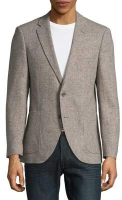 Black & Brown Black Brown Herringbone Wool Button-Front Jacket
