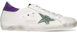 Golden Goose Deluxe Brand - Super Star Distressed Glitter-trimmed Mesh And Leather Sneakers - White $460 thestylecure.com