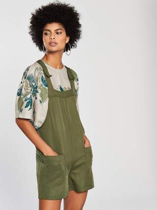 NATIVE YOUTH Dungaree Playsuit - Olive