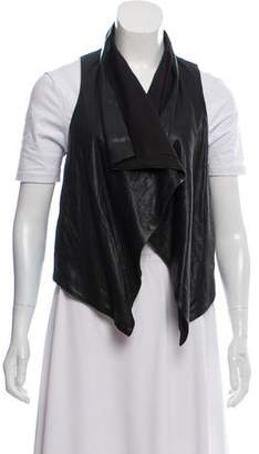 Theory Leather Open Front Vest