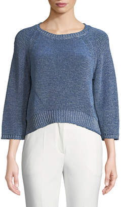 Emporio Armani 3\/4-Sleeve Heathered Mesh Sweater
