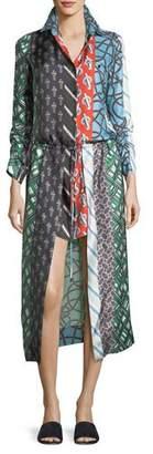 Carven Mixed-Print Long-Sleeve Silk High-Low Dress
